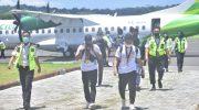 Pesawat Citilink mendarat di Bandar Udara H. Aroeppala, Kepulauan Selayar.